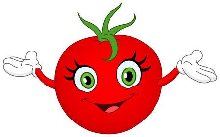 salads: Cheerful cartoon tomato raising her hands