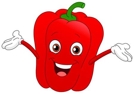 Cheerful cartoon pepper raising his hands