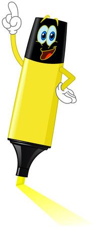 marcador: Resaltador de dibujos animados, apuntando con su dedo  Vectores