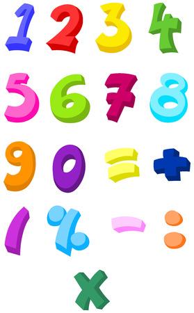 five element: Colorful numbers set Illustration