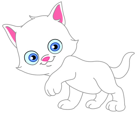 Adorable white kitten Stock Vector - 7390543