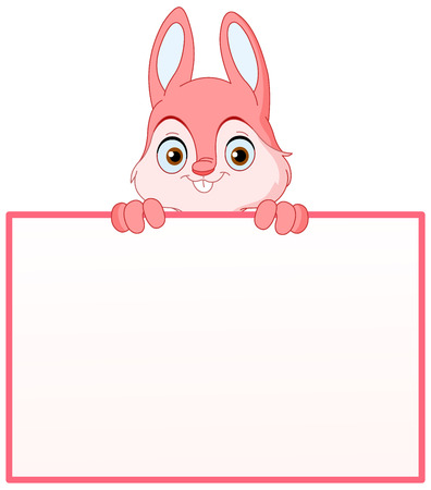 Pink bunny holding an empty sign Vector