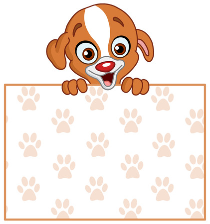 Cute puppy holding a footprint pattern sign Vector