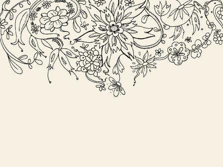 mani cartoon: Carta vettoriale disegnato mano floreali  Vettoriali