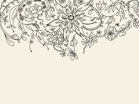 plant hand: Floral hand drawn vector card