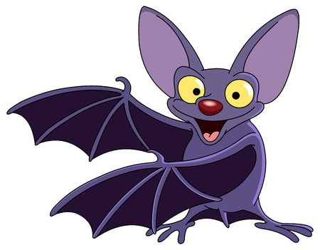 at bat: Cartoon bat presenting with his wings