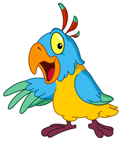 blue parrot: Cartoon parrot presenting with his wing