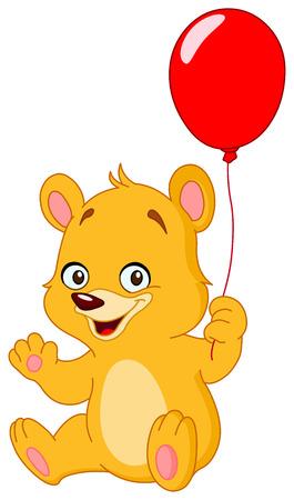 Cute teddy bear holding a balloon Stock Vector - 7466110