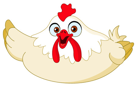 brooder: Cartoon chicken presenting with her wing Illustration