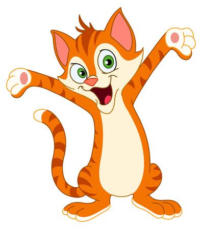 Happy cat raising his hands Stock Vector - 7513459