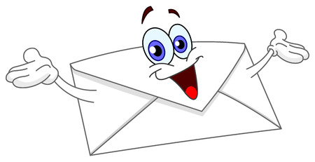 Cartoon envelope raising his hands Vector