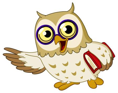 buho sabio: B�ho sabio de dibujos animados de ense�anza  Vectores