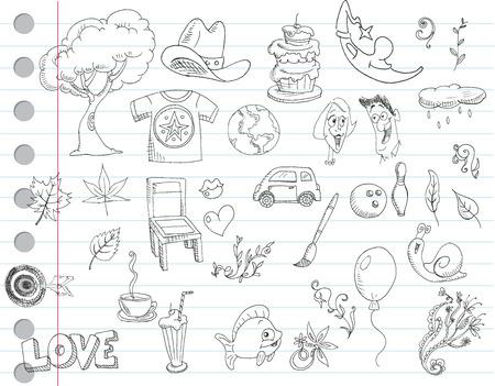 Notebook paper doodles. Set number 1 Stock Vector - 7579078