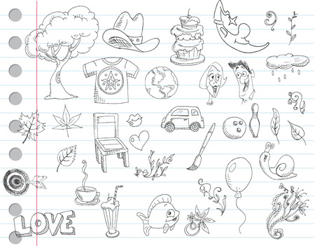 Notebook paper doodles. Set number 1 Vector