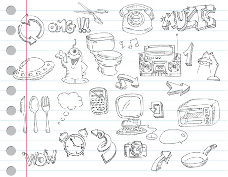 Notebook paper doodles. Set number 2 Vector