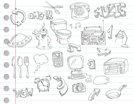 pocket book: Notebook paper doodles. Set number 2