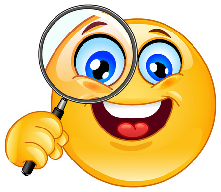 scrutiny: Emoticon holding a magnifying glass Illustration