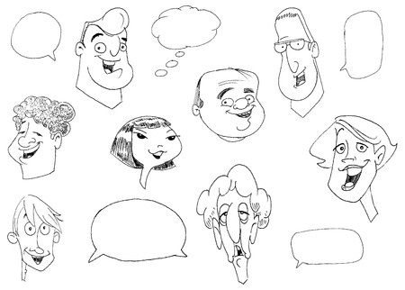 hombre caricatura: Garabatear conjunto de diversas caras de personas  Vectores