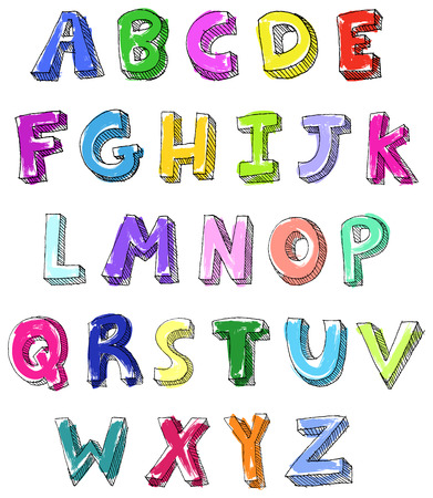 colored pencils: Hand drawn colorful  ABC letters Illustration