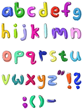 3d alphabet letter abc: Hand drawn colorful  abc small letters