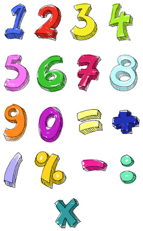 Hand drawn colorful   numbers Stock Vector - 7579080