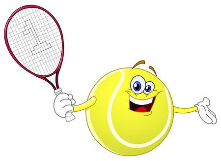 tennis racquet: Pelota de tenis de dibujos animados sosteniendo su raqueta  Vectores