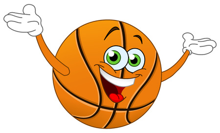 Cartoon basketball raising his hands Vector