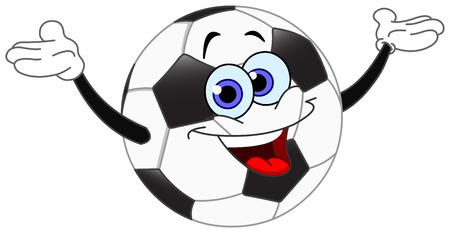 Cartoon soccer ball raising his hands Vector