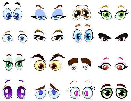 ojos caricatura: Conjunto de ojo de dibujos animados