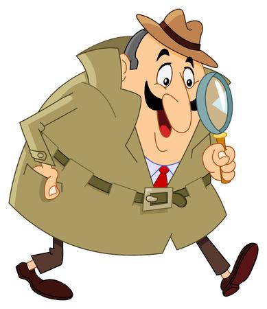 Cartoon detective  Vector Illustratie