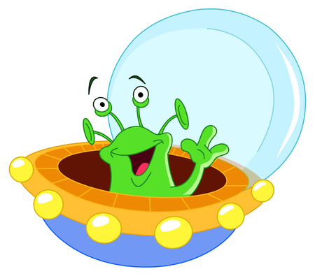 spacecraft: Cartoon alien waving hello Illustration