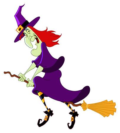 heks: Cartoon heks vliegen op haar bezem steel Stock Illustratie