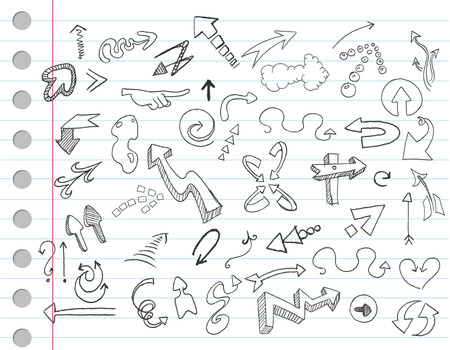 finger pointing up: Arrow doodles on a notebook paper