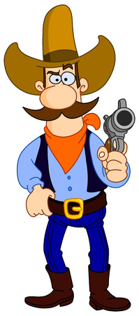 rancher: Cartoon cowboy holding his gun Illustration