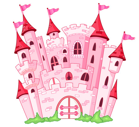 cartoon fairy: Pink princess castle