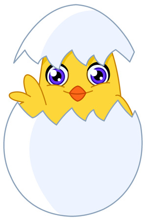 Cute chick waving from an egg Stock Vector - 7739599