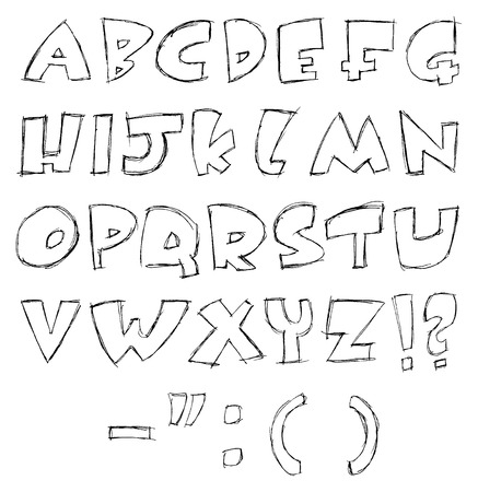 all caps: sketchy alphabet  Illustration