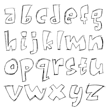 sketchy alphabet small letters Vector