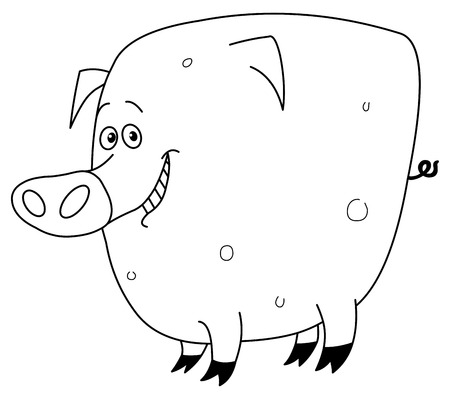 Outlined pig Vector