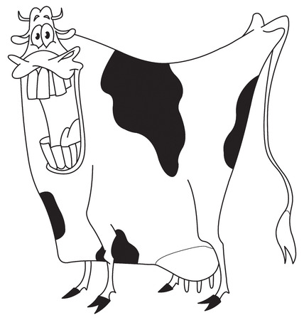 Outlined cow Vector