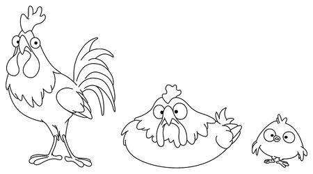 chicken family: Outlined chicken family