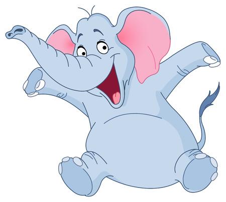 big ear: Cheerful elephant raising his hands Illustration