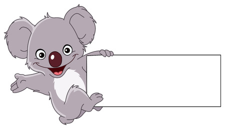Cheerful koala climbing a sign Stock Vector - 7784212