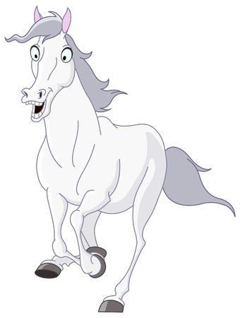White horse running Stock Vector - 7821299