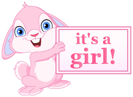 Baby bunny holding it�s a girl sign Vector