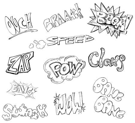 Handwritten comic book words