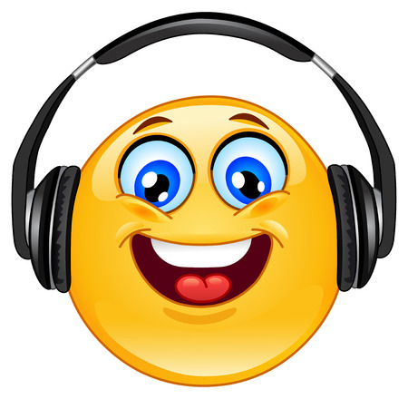 happy emoticon: Emoticon with headphones