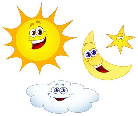 sol caricatura: Sun moon conjunto de estrellas y las nubes
