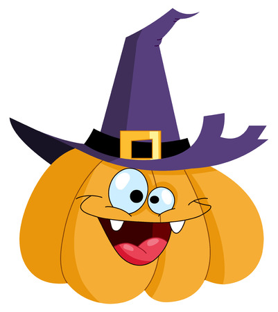 happy halloween: Cartoon pumpkin wearing a witch hat