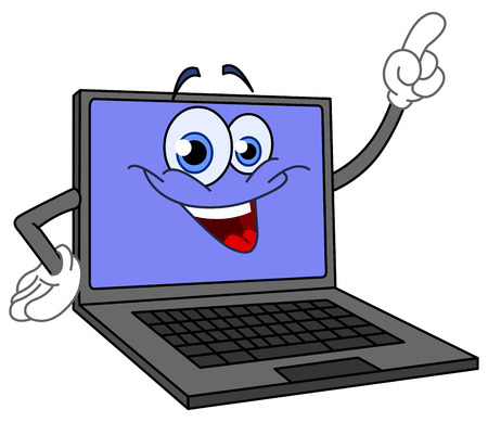 hands on keyboard: Cartoon computer pointing with his finger